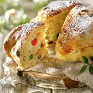 Pan Frutas Cristalizadas Redondo. Panes frescos